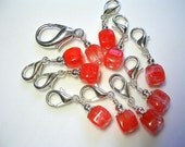 Crochet Stitch Markers Melon Pink  in Silver