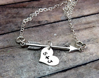 Personalized Necklace Valentines Day Cupids Arrow  Hand Stamped Arrow And  Heart Necklace