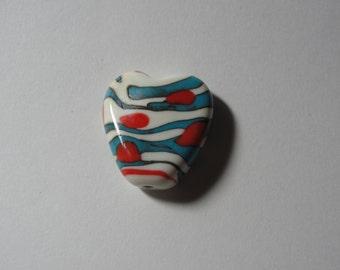 Southwest Heart Focal bead, handmade lampwork, ChristyLDesigns