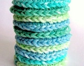 Cat Ferret Toy Toys Recycled Rings Handmade Michigan Blue Green CurlyGirlCrochet