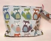 Wet Bag wetbag fox blue gray Diaper Bag ICKY Bag by PETUNIAS - swim cloth diaper zipper shower gift newborn baby child kids summer