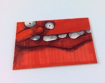 Orange Monster Original ACEO Drawing by Aaron Butcher