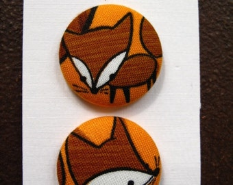"""Wearable Sew On Fabric Covered Buttons - Size 45 or 1 1/8"""" Fox"""