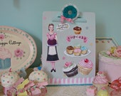 Retro Cupcakes Clipboard, Sweets Decoupaged Clipboard, Decoupaged Clipboard, Cupcake Decor / Clipboard