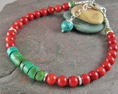 Turquoise Coral Bracelet Sterling Silver Beaded Gemstone Bracelet Turquoise Bracelet December Birthstone Bracelet Rustic Jewelry For Her