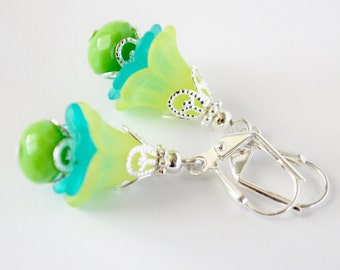 Lime and Teal Flower Earrings