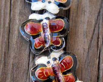 6 Black and Dark Red Enamel Butterfly Beads, 14mm -Set of 6