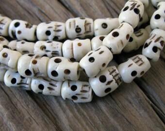 10 Carved Bone SKULL Beads, Off White 9x7mm -Set of 10