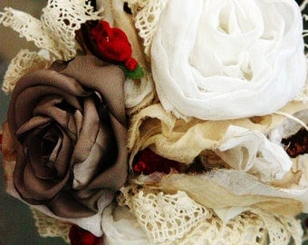 Bouquet, Wedding Bouquet, Bridal Bouquet 'RAGDOLL' vintage fabrics, silks and lace, white, cream, reds, pinks, blues, greens