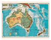 old map of Australia and New Zealand from a 1916 geography book, digital download no. 153