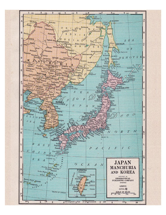 old map of Japan from the 1920's with  Manchuria,  Korea,  Taiwan, and China, vintage printable digital map no. 513