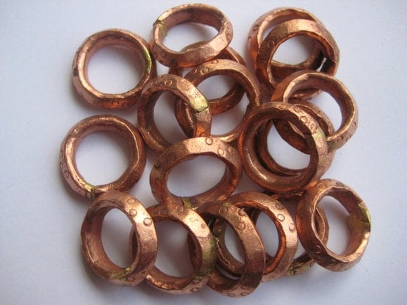 5 Ethiopian copper ring beads, beads, copper beads, copper spacers, ring beads, rings, African rings, Ethiopian rings