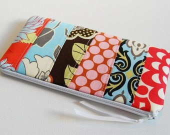 Quilted Patchwork Long Zipper Pouch Cosmetic Case Makeup Bag Toiletry Storage Amy Butler