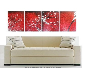 Original Landscape 4 Piece Textured Canvas Zen Art Painting Japanese Asian Inspired Cherry Blossom Red Black White Tree by Heather R Lange