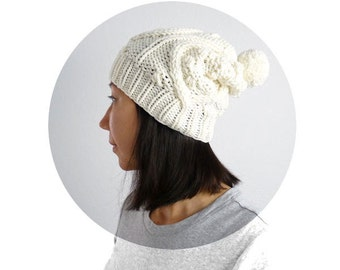 Merino Popcorn Cable PomPom Slouch Hat. Hand Knit. Porcelain / Cream. Christmas / Mountain Cabin / Winter / Snow / Ski.