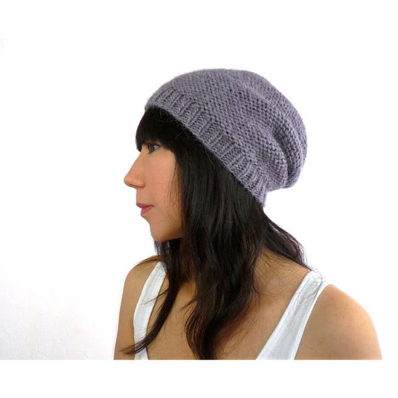 Phrygian Style Knit Slouch Hat in Romantic Lavender Gray Alpaca. Soft / Rustic. Spring / Ski Fashion Handmade in France.