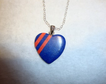 Heart Pendant Coral and Lapis - solid sterling silver chain earth friendly ethical sources -navy blue and pink