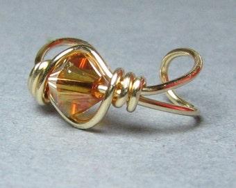 14k Gold Fill Ear Cuff Crystal Copper Swarovski Crystal Cartilage earring non pierced custom choice of bead