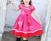 Valentine dress, Paris pink dress, Eiffel Tower dress, pink red dress, twirl dress, applique dress, lace, apron dress, birthday dress