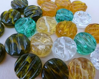 Artisan Lampwork Beads, Lampwork Glass Coin Bead, Wavy Glass Bead, Ribbed Coin Bead, Yellow, Clear, Olive, Green, Lampwork Glass, 1 Bead