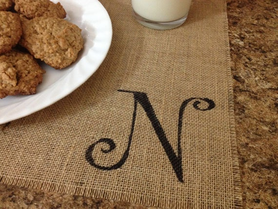 Monogrammed burlap placemats for farmhouse style cottage chic home decor with a funky font - set of two personalized custom order