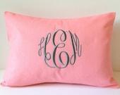 Monogram Pillow Cover 12 x 16 Custom Baby Girl or Boy. Home Decor Throw Pillow Cover. Shower Gift Pink Pillow Custom Nursery Gift. Lettering