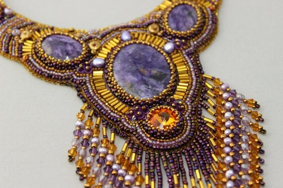 Beaded Embroidery Necklace, Collar, Choker, Charoite,  Purple Statement Necklace