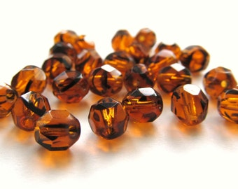 Amber and Black Tortoise Faceted Round Czech Glass Beads, 6mm - 25 pieces