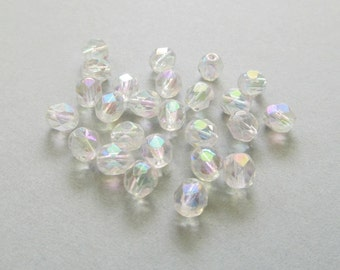 Crystal Clear 2x AB Faceted Round Glass Beads, 6mm - 25 pieces