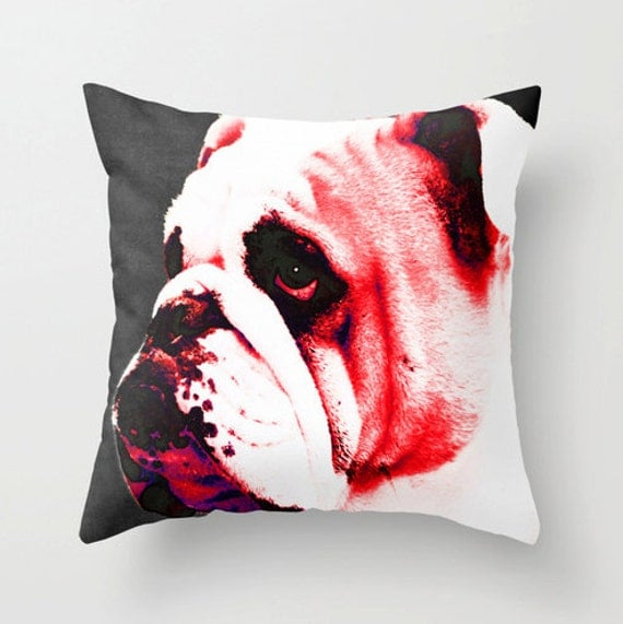 Throw Pillow Red Bulldog Art COVER Bull Dog Home On Sofa Bed Chair Or Couch Decor College Football Sports Georgia Dawgs Bedroom Bedding