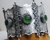Zornica- Fine/sterling silver and Green Russian Serpentine bracelet