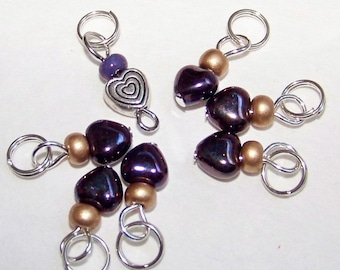 SJK Tinies -- Delicate Stitch Markers for Small Needles -- Eeny Hearts (Pearlized Purple)