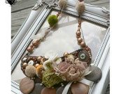 RESERVED Boho Autumn Wooden Beads and Pompoms Bold Statement Necklace