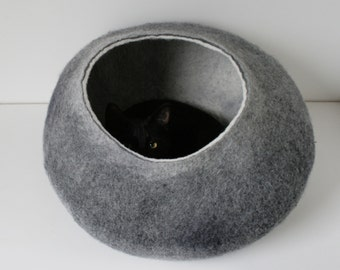 Cat Nap Cocoon / Cave / Bed / House / Vessel / Furniture / Sphere - Hand Felted Wool - Crisp Contemporary Modern Design - Dark Grey Bubble