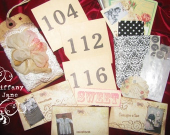 TiffanyJane-Number Cards Paper Set-Papier Set-Paper tags-home decor-Mixed media-Art Collage-Vintage Style Keepsakes-Paper goods