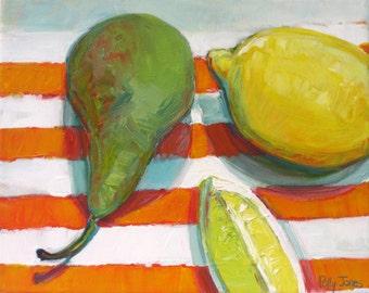 Oxford Fruit, original still life painting by Polly Jones