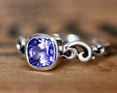 Tanzanite engagement ring - gemstone ring- December birthstone - recycled silver - gemstone ring- swirl band - water dream - made to order