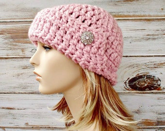 Crochet Hat Womens Hat 1920s Flapper Hat - Garbo Cloche Hat in Blossom Pale Pink Crochet Hat - Womens Accessories Winter Hat