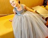 Gray Silver Flower Girl Dress Full Length