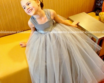 Gray Silver Flower Girl Dress Full Length