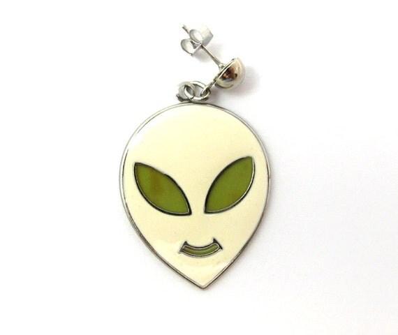 Vintage Green & White Alien Earrings / Pendants (1 pair) (E544)