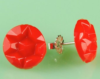 Vintage Glass Red Star Button Post Earrings
