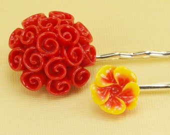 2 Red and Yellow Flower Hairpins
