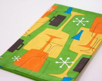 Retro Modern Tea Towel Cocktail Themed Atomic Age Green by Swizzlestix