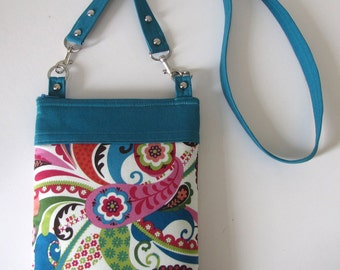Long Strap Crossbody Bag in Teal Blue Multi Floral
