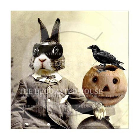 HALLOWEEN Decor Art Print. Beau Bunny Bandito n Raven. Anthropomorphic - Decoration . Gift . 5.5 x 5.5 inches The Decorated House on Etsy