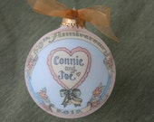 50th Anniversary Custom Romantic Heart Keepsake Ornament, Original, Handpainted Personalized Ornament, WITH DISPLAY STAND