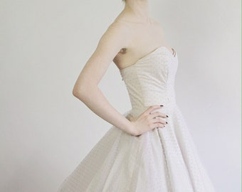 "Pink Swiss Dot Tulle Wedding Dress with Sweetheart Neckline ""Hey Jenni"" Dress Rockabilly Vintage Style"