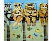 Fishing Cats Fun  Whimsical Folk Art Ceramic Tile
