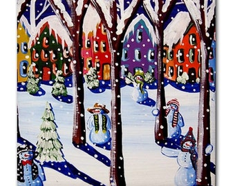 Magical Snowmen 2 Winter Fun Whimsical Folk Art Ceramic Tile